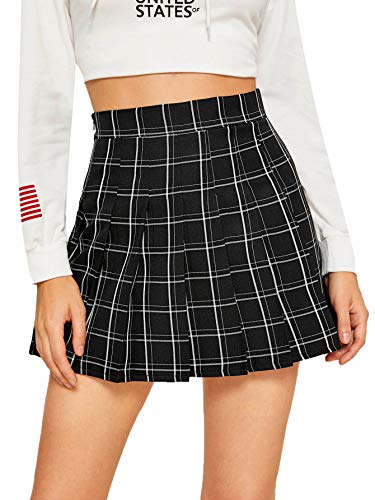 SweatyRocks Women's Casual High Waist Plaid A Line Pleated Mini Skirt Black L