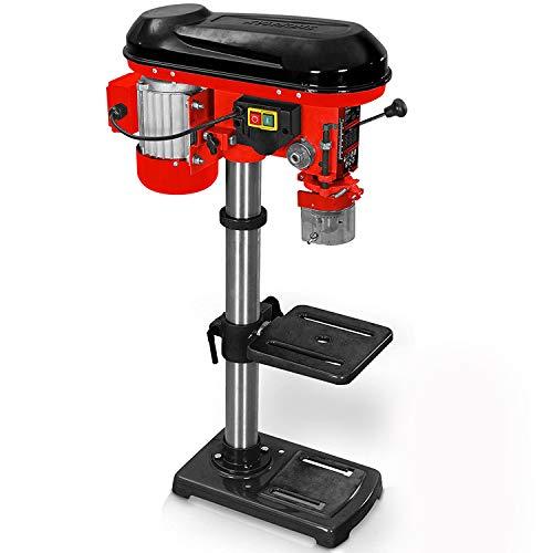 Hecht Säulenbohrmaschine mit starken 600 Watt – 12-stufige Drehzahlregelung, schwenkbar- und höhenverstellbarer Bohr-tisch – Späneschutz - Säulenbohrmaschine (Säulenbohrmaschine Rot)