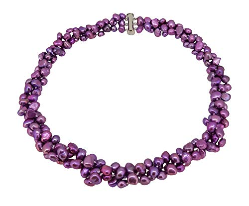 TreasureBay Three-strand chunky Modern Twist Cultured Freshwater Baroque Pearl necklace with a sliding silver clasp (Lilac)