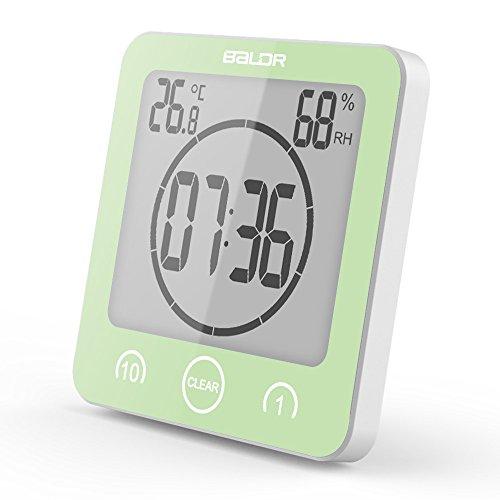 Badkamer Klok Douche Timer Alarm Digitale Klokken Keuken Timer Muur Plug Socket Waterdichte Indoor Thermometer Hygrometer voor Douche Koken Make-up (Groen)