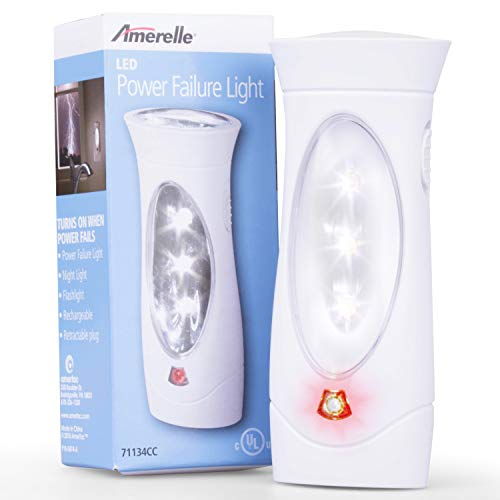 Amerelle Emergency Lights For Home, 6 Pack – 3 Function Power Outage Lights – Amertac Power Failure Light and Plug In Flashlight Combo With Rechargeable Battery – Power Outage Snow Storm Ready