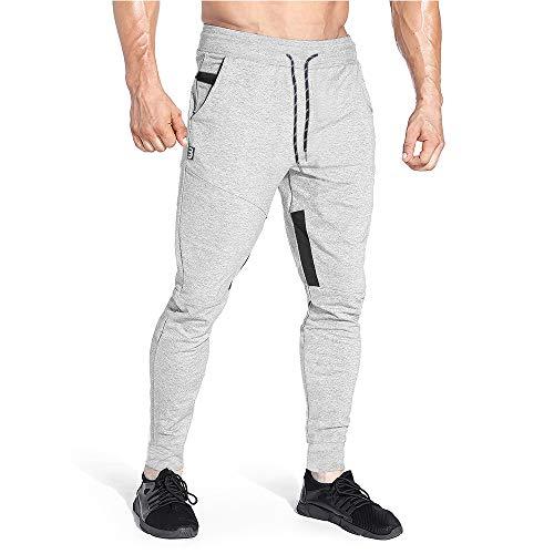 Yageshark Herren Jogginghose Sporthose Baumwolle Fitness Slim Fit Hose Freizeithose Trainingshose Joggers Streetwear (Hellgrau, Small)