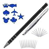 Hair Razor Pen For Hair Art Design & Eyebrow Shaping, (1 Engraving Pen, 20 Stainless Steel Blades, 7 Stencils, 1 Tweezers) Eyebrows Beards Razor Shaving Styling Tool(Black)