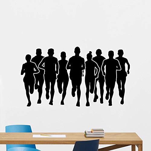 HGFDHG Corredor de maratón Pegatinas de Pared Deportes Correr Gimnasio Fitness Vinilo Pared calcomanías Sala de Estar sofá Fondo Pared decoración del hogar