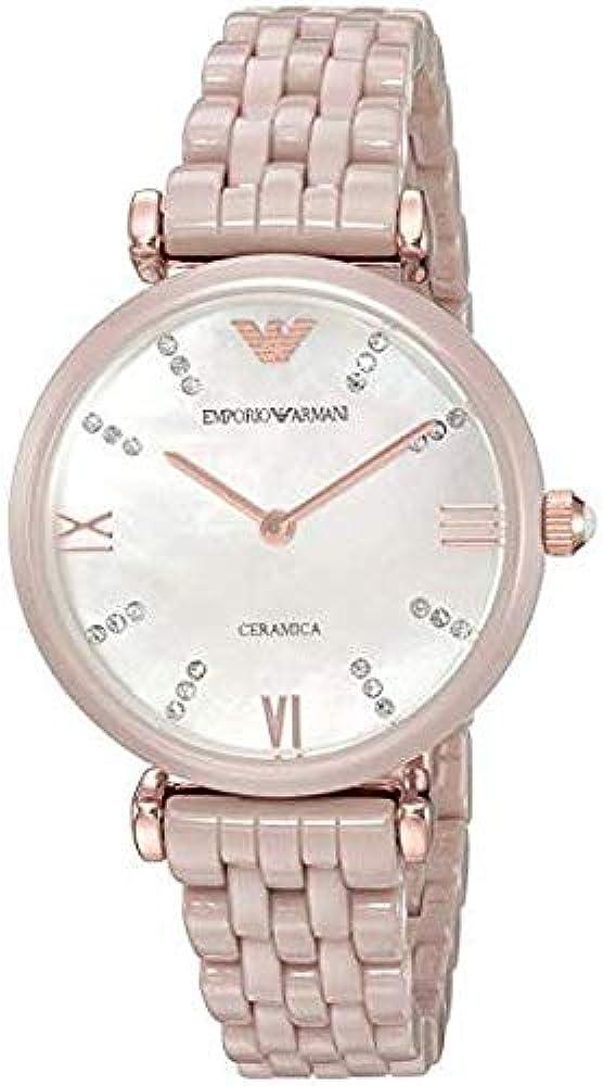 Emporio armani, orologio per donna, in ceramica e acciaio inossidabile 4053858564039
