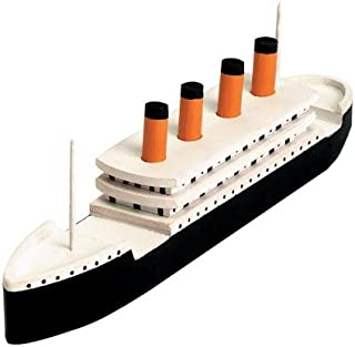 "Darice Wood Model Kit, Titanic (1 Kit) – Contains Precut Wood and Instructions for 7.25""x2"" Model – All You Need is Glue, Sandpaper, Paint to Finish – Fun Activity for School, Camp, Scouts, Families"