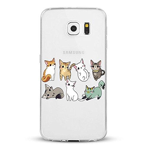 Caler - Carcasa compatible con Samsung Galaxy S7/S7 Edge, silicona transparente, ultrafina, flexible, antigolpes, protección TPU con diseño de gato