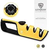 LEVINCHY 3in1 Knife Sharpener, Adjustable Angle Kitchen Knife and Scissor Professional Sharpeners,...