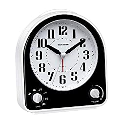 Peakeep Non-Ticking Silent Alarm Clock, Optional 7 Wake-up Sounds with Volume Control, Nightlight and Snooze, AA Battery Operated and Included (Black)