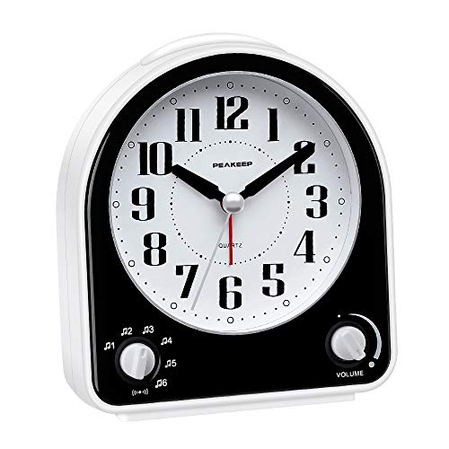 Peakeep Non-Ticking Silent Alarm Clock, Optional 7 Wake-up Sounds with Volume Control, Nightlight...