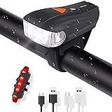 Szblk 自転車ライトマウンテンロードLED USB自転車ライトフロントおよびリアサイクルライト自動センサー5モード防水調光450LM (Color : Black)