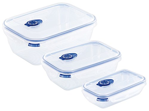 Rosenstein & Söhne Frischhaltedosen: 3er-Set Frischhalte-Dosen, rechteckig, 500/1.300/2.600 ml (Lunchboxen)