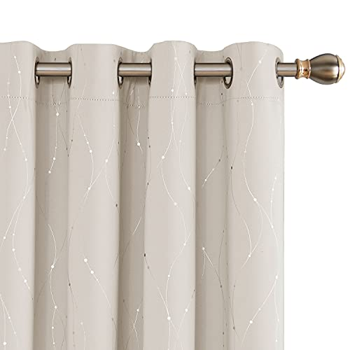 Deconovo Blackout Curtains for Sliding Glass Door, 108 Inch Long, Set of 2 - Thermal Insulated Curtains, Window Curtains with Wave Line and Dots Pattern (52 x 108 Inch, Beige, Set of 2)