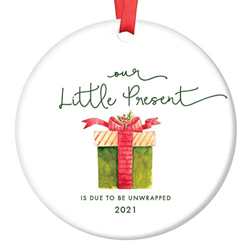 Little Present Christmas Ornament Baby Due Date 2021 Festive Ceramic Holiday Keepsake Expecting Parents Family Surprise Pregnancy Announcement 3' Flat Porcelain with Red Ribbon & Free Gift Box OR00248