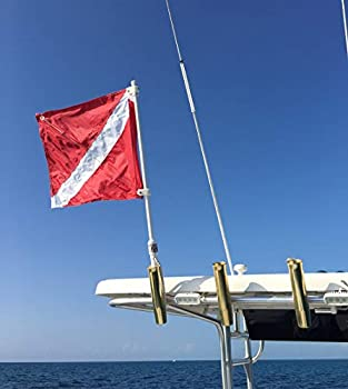SPEARFISHING WORLD Dive Flag with Pole for Boat T - Top and Rod Holder Safety for Scuba Spearfishing Diving Freediving and Snorkeling