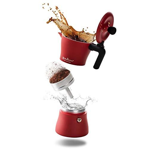 ROSMARINO Espressokocher für Induktion und alle Herdarten - Espresso Maker für authentischen italienischen Kaffee - 3 Tassen Espressokanne I Rot