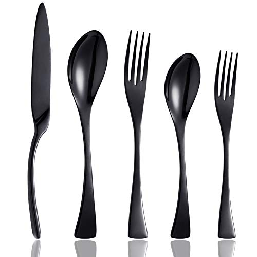 Culterman 20 Piece Black Flatware Silverware Cutlery Sets, unique modern look, Home & Kitchen Stainless Steel Dinnerware/Tableware/Utensils Sets For 4, Include Knives/Forks/Spoons Dishwasher Safe