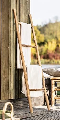 Handtuchleiter aus Bambus, 115 cm hoch, 4 Sprossen, Kleiderständer