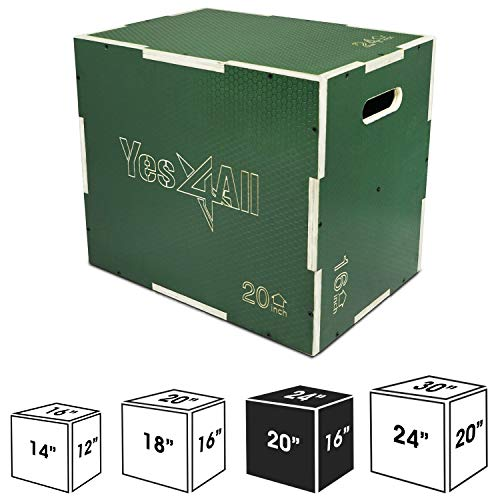 """Yes4All Non Slip Wood Plyo Box/Wooden Plyo Box for Exercise - Green, 24"""" x 20"""" x 16"""""""