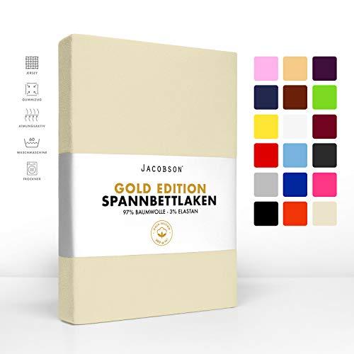 Jacobson Gold Edition Jersey Spannbettlaken Spannbetttuch Baumwolle mit ELASTAN ca. 200 g/m² (200 x 220 cm + 40cm, Natur)
