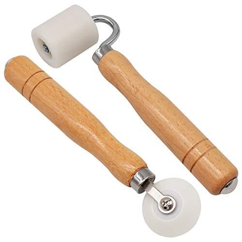 Zliger 2 Stück Andrückwalze Rollen Tapeten Nahtroller Naht Handdruck Rolle Holz Andrückroller für Tapete Naht Dekoration Werkzeug