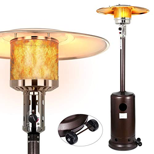 48000 BTU Propane Patio Heater Standing,Stainless Steel Commercial Outdoor Heater with Wheels for Restaurant,Garden Weeding and Party,Brown 1 Set
