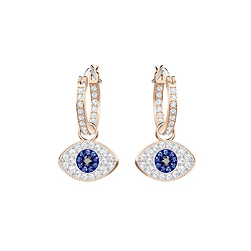 Swarovski Women's Symbolic Evil Eye Hoop Pierced Earrings, Set of Brilliant Blue and White Swarovski Crystal Hoop Earrings with Rose-gold Tone Plating