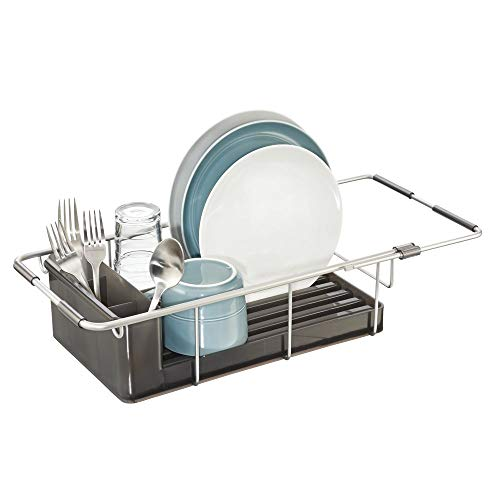 mDesign Modern Expandable Adjustable Over-Sink Dish Drainer - Kitchen Organizing Center - Drain and Dry Wine Glasses, Silverware, Bowls and Dishes - Rustproof Aluminum - Silver/Smoke Gray