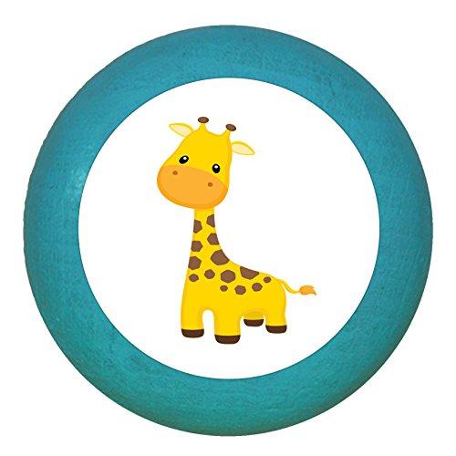 """Kindermöbelgriff""""Giraffe"""" petrol Holz Buche Kinder Kinderzimmer 1 Stück wilde Tiere Zootiere Dschungeltiere Traum Kind"""
