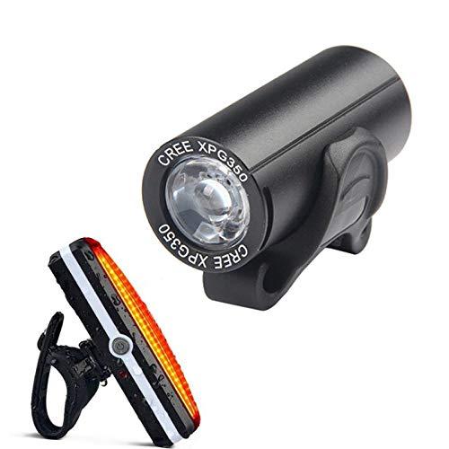 XWYWP Juego de luces de bicicleta impermeables para bicicleta con USB, recargable, luz delantera y trasera de bicicleta, accesorios para faros delanteros
