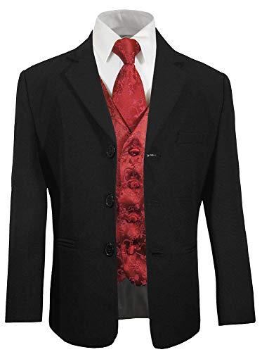 Paul Malone - Festlicher Kinder Anzug für Jungs blau (tailliert) + weinrote Weste mit Krawatte/Hochzeit Kommunion Taufe 18