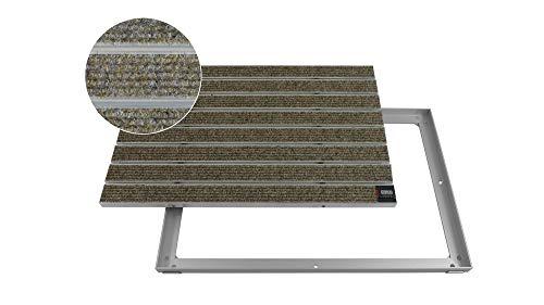 EMCO Eingangsmatte DIPLOMAT Large Rips sand 12mm + ALU Rahmen Fußmatte Schmutzfangmatte Fußabtreter Antirutschmatte, Größe:750 x 500 mm