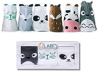 OLABB Toddler Socks Anti Slip Baby Kids Animal Crew Socks Non-Skid 6 Pairs Gift Set