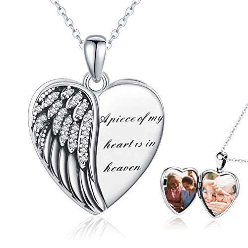 Angel Wings Locket Necklace 925 Sterling Silver Guardian Heart Shaped Locket Memorial Necklace That Hold Pictures Memory Jewelry Gifts for Women Girls