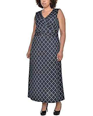 NY Collection Plus Size V Neck Wrap Front Maxi Dress