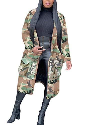 Women Casual Camo Blazer Jacket Let…