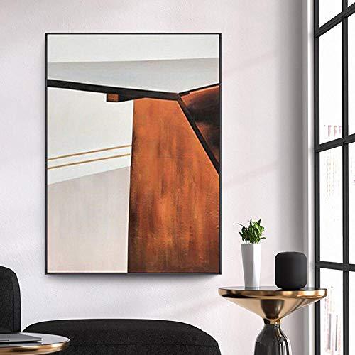 BGMBB Pittura a Olio Dipinta a Mano Moderna Semplice Pittura Astratta Geometrica Arancione Pittura nordica della Decorazione della Stanza 40x60cm (Senza Cornice)