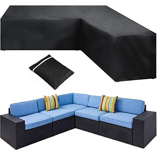 HSGAV Funda Sofá en Forma L Funda Sofa Exterior Esquina Jardín Fundas Protectora Muebles Impermeable 420D Resistente Al Polvo, Resistente Al Viento, Antiuv, Negro,270x270x90cm