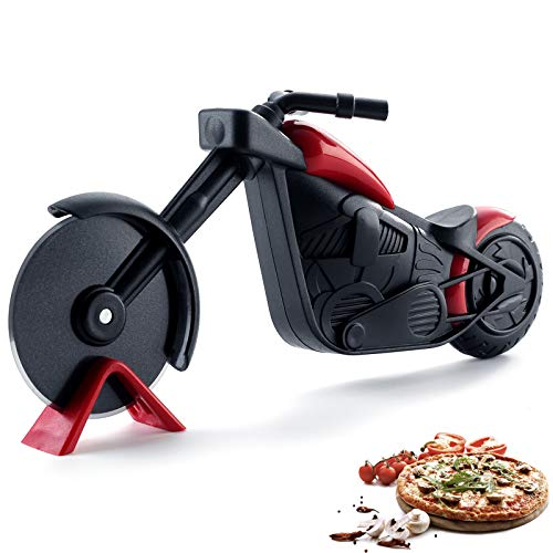 Pizza Cutter Wheel,Motorcycle Pizza Cutter,Quality Stainless Steel Pizza Slicer,Motorcycle Pizza Slicer Cutter Wheel With a Kickstand, Funny Pizza Cutter For Gift, Easy to Clean