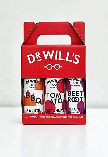 Dr Will's Confezione Regalo con Tomato Ketchup, Ketchup di Barbabietola e Salsa BBQ - Senza Glutine o Lattosio, Ideale per dieta Keto - 3 x 250g Bottiglie