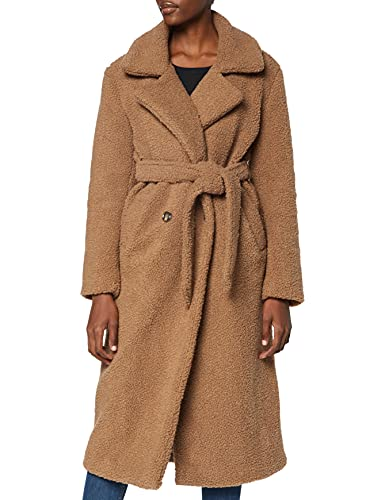 Marchio Amazon - find. Longline Teddy Coat Giacca Donna, Marrone (Brown Brown), 42, Label: S