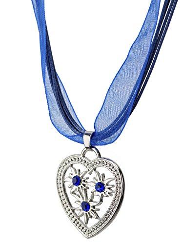 Trachtenkette Weissensee eleganter Herz Anhänger mit DREI funkelndem Strasssteinen - Trachtenschmuck Kette für Dirndl und Lederhose (Blau)