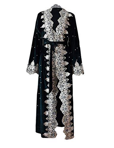 TAAMBAB Vestido de Encaje Abaya Musulmán para Mujer - Abrigo de Terciopelo Manga Larga Kimonos Árabe Dubai Kaftan Caftan Jalabiya Boho Ropa Largo Robe