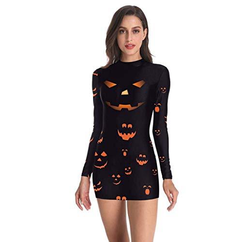 Riou Halloween Kostüm Damen kürbis Skeleton Party Cosplay Kostüm Mini Kleid Langarm Karneval kostüm Faschingskostüme