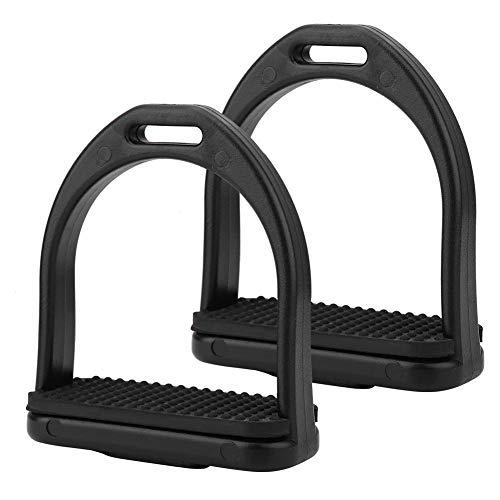KSTE 1 paar zwart hoge sterkte Horse Stirrup duurzame kwaliteit kunststof paardrijden klemmen (L)