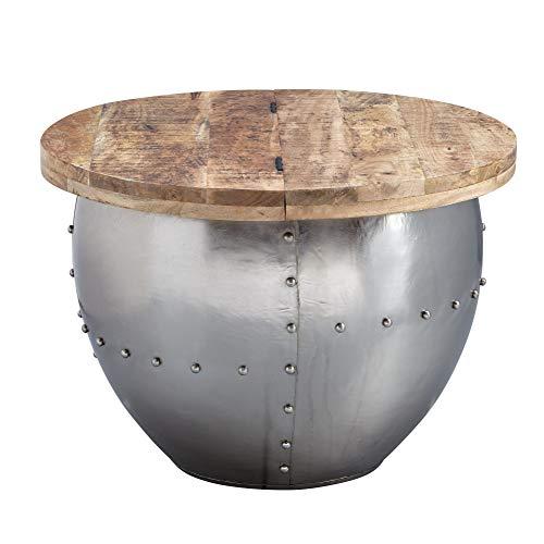 FineBuy Couchtisch Mango Silber Massivholz/Metall 60x43x60 cm Industrial Style Rund | Design Wohnzimmertisch mit Stauraum | Moderner Loungetisch Sofatisch