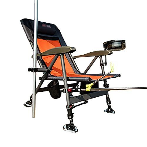 BSJZ Sedie da Pesca per impieghi gravosi Pieghevoli con portacanna, sedie da Campeggio reclinabili con Schienale Regolabile per molo/Barca/Kayak