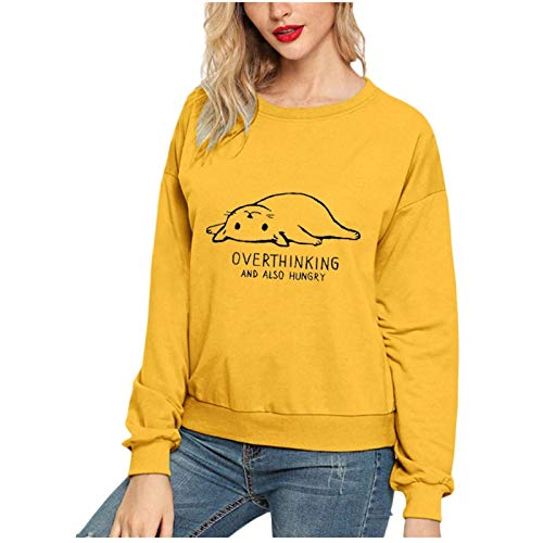 zhanxin Fashion Women Cat Printing Round Neck Long Sleeve Casual Blouse Sweatshirt Top Long Sleeve Hoodies Streetshirt Yellow
