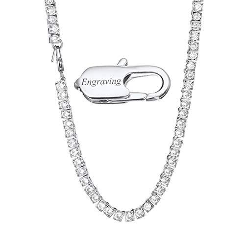 Richsteel Ice Out Tennis Collier Kette 55cm lang Platin Halskette mit 116 Zirkonia Bling Schmuck mit Gravier ideales Schmuck
