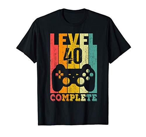 40 Anni Compleanno Donna Uomo Regalo Divertente Level 40 Maglietta